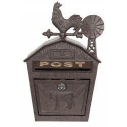 Fém postaláda kakasos 30x14x43cm