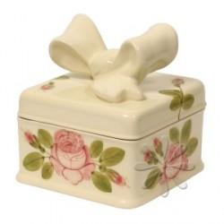 Kerámia doboz, szögletes - Vanilia kerámia/Romantik rózsás