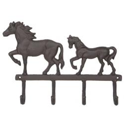 Fém falifogas 4 akasztóval 34x5x25cm, lovas