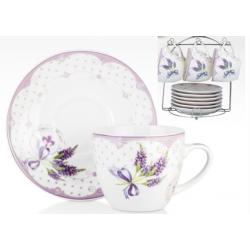 Porcelán csésze+alj, 6 személyes, 220ml, levendulás, fémállványon