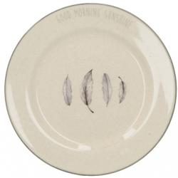Kerámia desszert tányér 21cm, tollas