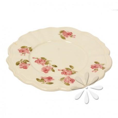 Porcelán desszert tányér - Vanilia Kerámia / Violin apró rózsás