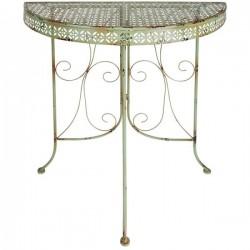 Kerti asztal, félkör alakú, antikolt