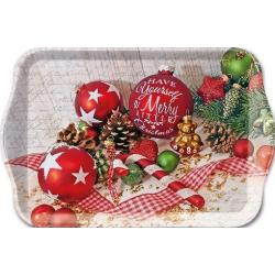 Műanyag tálca kicsi 13x21cm - Merry Christmas