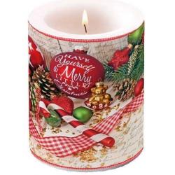 Átvilágítós gyertya nagy, 12x10cm - Merry Christmas