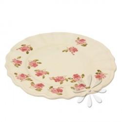 Kerámia lapos tányér - Vanilia Kerámia/Violin apró rózsás