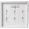 Fali kulcsos szekrény fehér 29x3x29cm, fa, rózsás