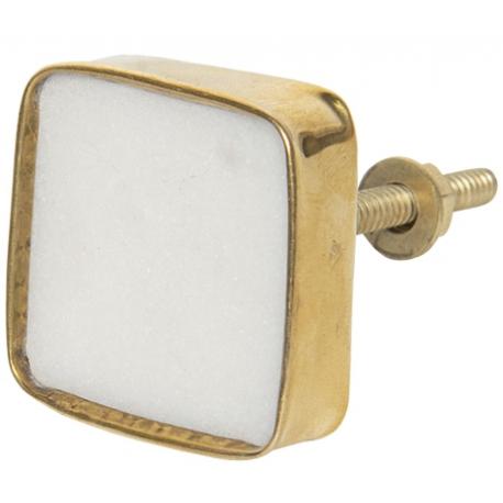Ajtófogantyú szögletes, fehér kő aranyszínű