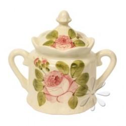 Kerámia cukortartó - Vanilia kerámia/Romantik rózsás