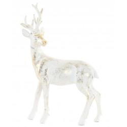 Rénszarvas figura, műgyanta, 16X6X21cm , fehér aranyozott