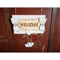 Fa Welcome ajtótábla cicákkal, 16x10cm