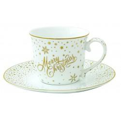 Porcelán teáscsésze+alj 200 ml, Golden Christmas