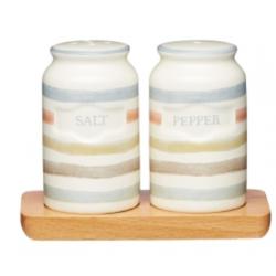 Kerámia só-borsszóró fa alátéttel 19x9cm -  Classic