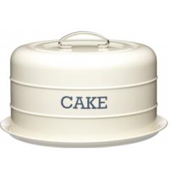 Hordozható tortatartó fémdoboz szilikonzárással, 28,5x18cm, krém