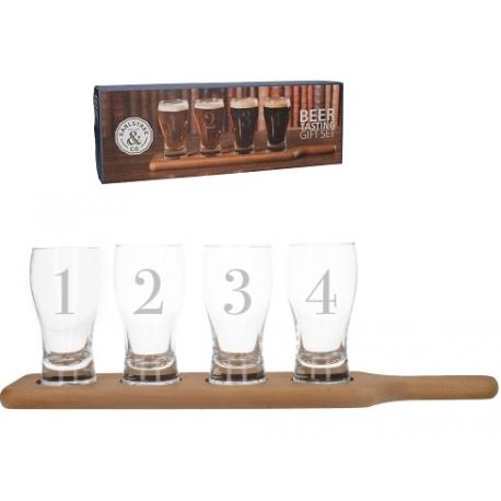 Sörkostoló szett: 4 üvegpohár 210ml , fenyő tálcán