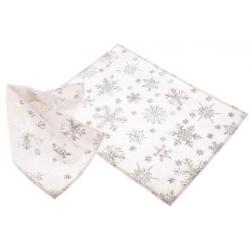 Tányéralátét szett textil 2db-os, fehér ezüst hópelyhes