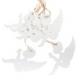 Fa függődísz 6db-os, fehér angyalkás, 7x7cm