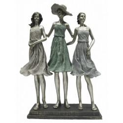 Dekorfigura műgyanta , lányok ezüstözött