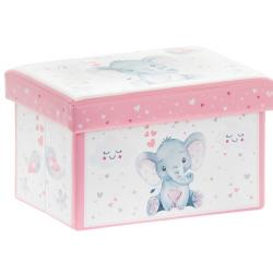 Műbőr tárolódoboz rózsaszín 35x24x21cm, elefántos