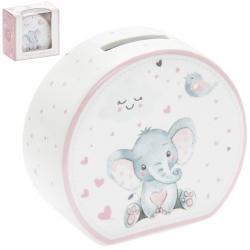Porcelán persely rózsaszín, 14x5x9cm , elefántos
