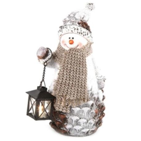 Kerámia hóember Led-es lámpással