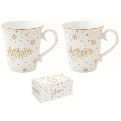 Porcelán bögre szett 2db-os 275 ml, Golden Christmas