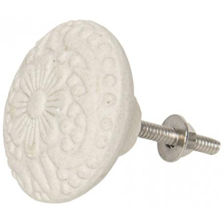 Ajtó fogantyú kerámia, fehér virágos , 4,5cm