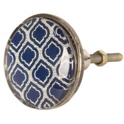 Ajtófogantyó fém, kék mintás 5cm