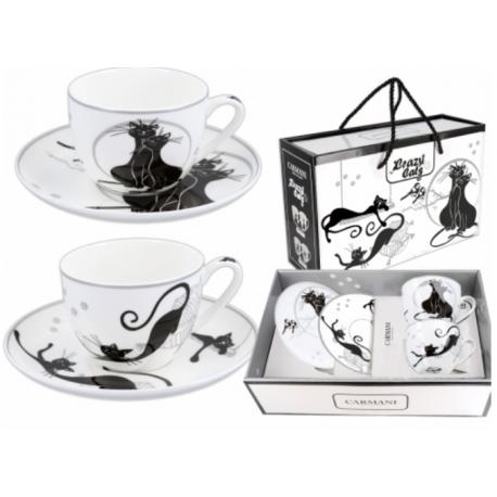 Porcelán teáscsésze szett 2db-os 250ml, fekete macskás