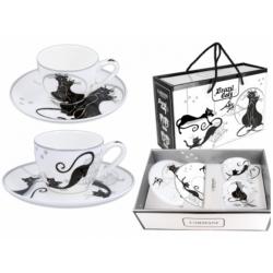 Porcelán eszpresszócsésze szett 2db-os 100ml, fekete macskás
